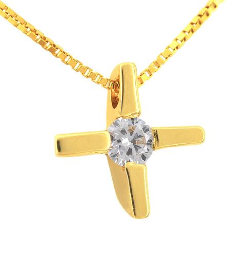 Χρυσός Σταυρός Κ18 με διαμάντι 001148 Χρυσός 18 Καράτια