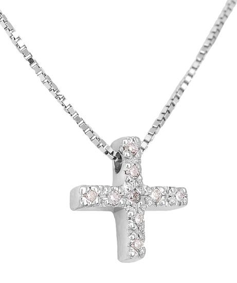 Λευκόχρυσος Σταυρός Κ18 με διαμάντια 001149 Χρυσός 18 Καράτια χρυσά κοσμήματα κολιέ