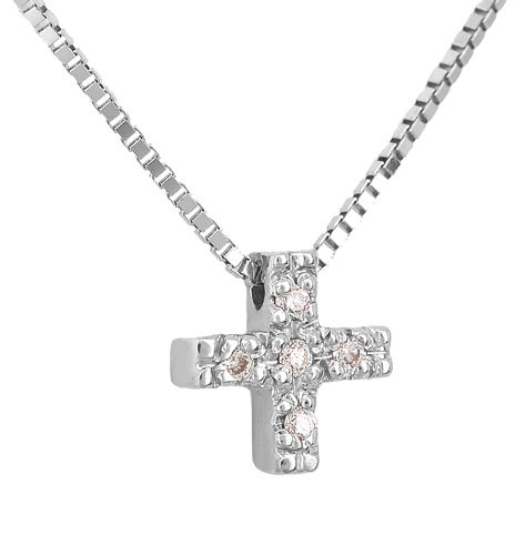Λευκόχρυσος Σταυρός Κ18 με διαμάντια 001150 Χρυσός 18 Καράτια χρυσά κοσμήματα κολιέ