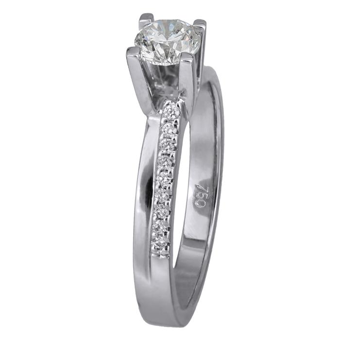 Λευκόχρυσο δαχτυλίδι 18Κ με διαμάντια 011590 011590 Χρυσός 18 Καράτια χρυσά κοσμήματα δαχτυλίδια μονόπετρα
