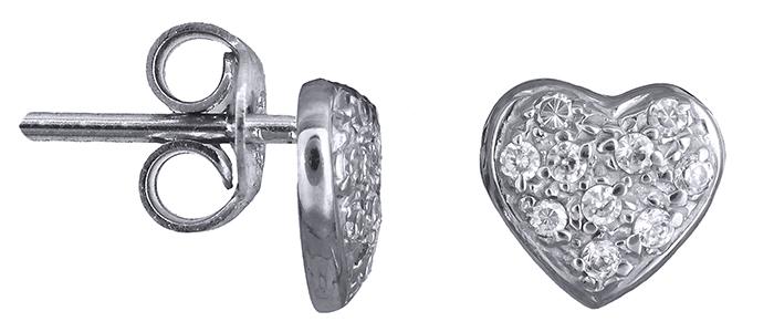 Σκουλαρίκια με πετράτες καρδούλες Κ14 001162 001162 Χρυσός 14 Καράτια