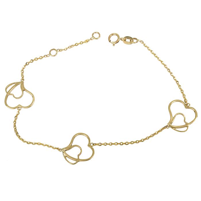 Χρυσό βραχιόλι Κ9 με καρδιές 015185 015185 Χρυσός 9 Καράτια