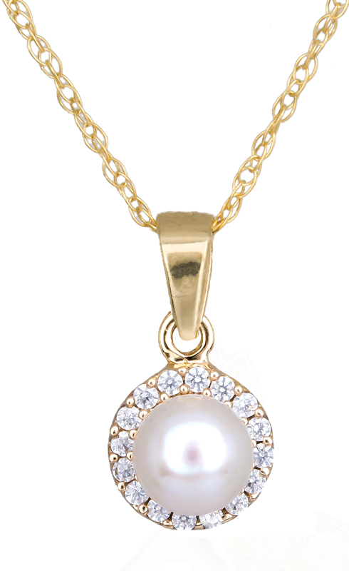Γυναικείο κολιέ ροζέτα με μαργαριτάρι C012204 012204C Χρυσός 14 Καράτια