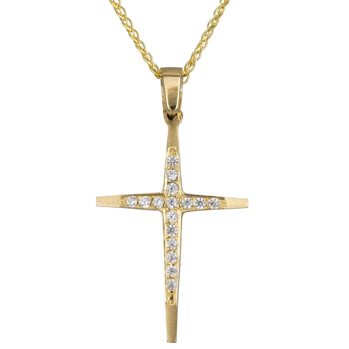 Χρυσός σταυρός C012309 012309C Χρυσός 14 Καράτια χρυσά κοσμήματα σταυροί
