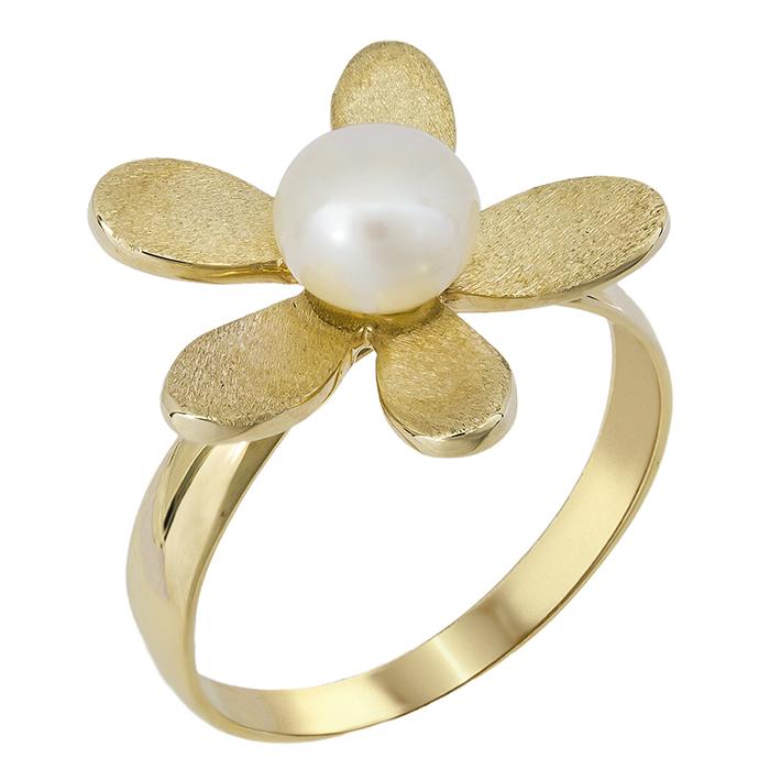 Χρυσό δαχτυλίδι 14 K με μαργαριτάρι 001249 Χρυσός 14 Καράτια χρυσά κοσμήματα δαχτυλίδια με μαργαριτάρια και διάφορες πέτρες
