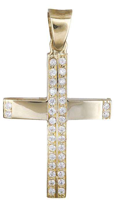 Σταυροί Βάπτισης - Αρραβώνα Πετράτος Χρυσός Σταυρός 9Κ 014905 014905 Γυναικείο Χρυσός 9 Καράτια