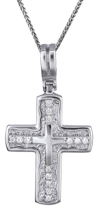 Βαπτιστικοί Σταυροί με Αλυσίδα Λευκόχρυσος σταυρός με καδένα Κ14 C001361 001361C Γυναικείο Χρυσός 14 Καράτια