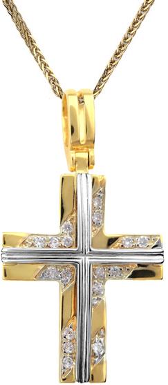 Βαπτιστικοί Σταυροί με Αλυσίδα Γυναικείος σταυρός C001371 001371C Γυναικείο Χρυσός 14 Καράτια
