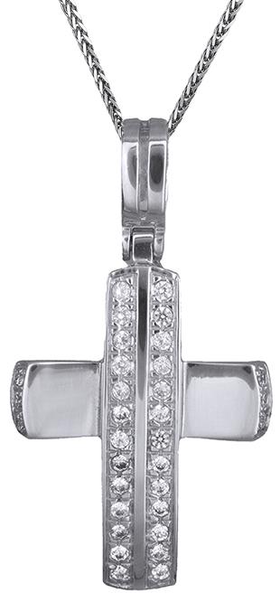 Βαπτιστικοί Σταυροί με Αλυσίδα Λευκόχρυσος σταυρός 14Κ C001375 001375C Γυναικείο Χρυσός 14 Καράτια