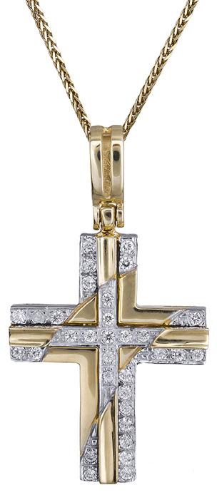 Βαπτιστικοί Σταυροί με Αλυσίδα Γυναικείος σταυρός με πέτρες Κ14 C001381 001381C Γυναικείο Χρυσός 14 Καράτια