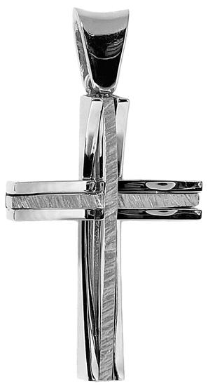 Σταυροί Βάπτισης - Αρραβώνα Λευκόχρυσος Σταυρός Κ18 001409 001409 Ανδρικό Χρυσός 18 Καράτια