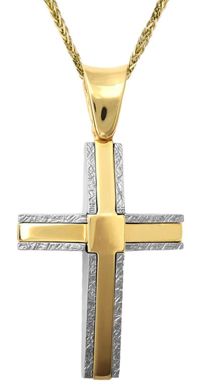 Βαπτιστικοί Σταυροί με Αλυσίδα Ανδρικός σταυρός Κ18 με αλυσίδα C001413 001413C Ανδρικό Χρυσός 18 Καράτια