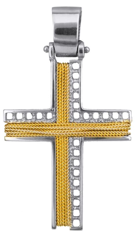 Σταυροί Βάπτισης - Αρραβώνα ΔΙΧΡΩΜΟΣ ΣΥΡΜΑΤΕΡΟΣ ΣΤΑΥΡΟΣ 14Κ 014266 Ανδρικό Χρυσός 14 Καράτια