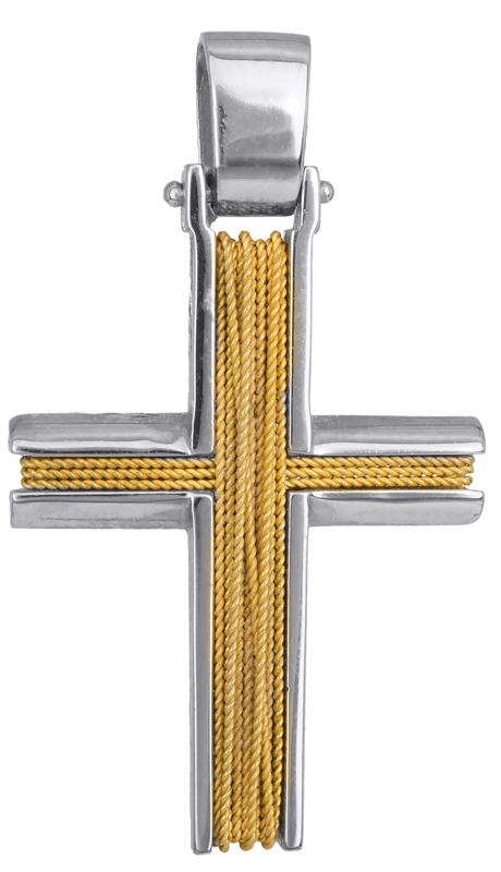 Σταυροί Βάπτισης - Αρραβώνα ΔΙΧΡΩΜΟΣ ΣΤΑΥΡΟΣ 14Κ 014272 Ανδρικό Χρυσός 14 Καράτια