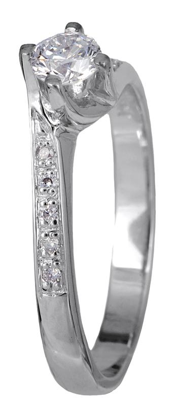 Δαχτυλίδι μονόπετρο 18K με διαμάντια 001447 Χρυσός 18 Καράτια
