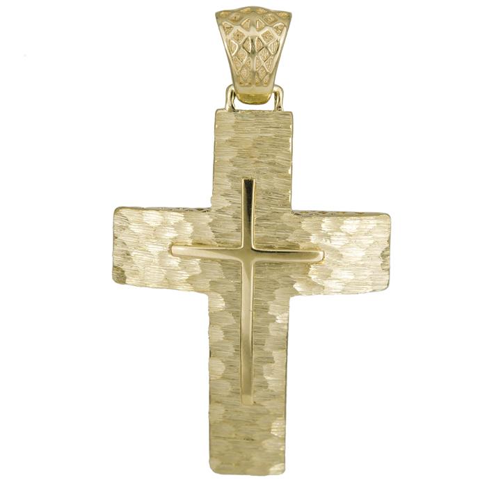 Σταυροί Βάπτισης - Αρραβώνα Ανάγλυφος σταυρός βάπτισης για αγόρι 14Κ 025558 025558 Ανδρικό Χρυσός 14 Καράτια