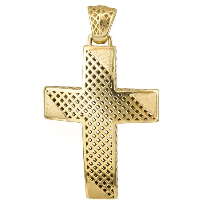 Σταυροί Βάπτισης - Αρραβώνα Χρυσός Σταυρός 14Κ με ματ λεπτομέρειες 014720 Ανδρικό Χρυσός 14 Καράτια
