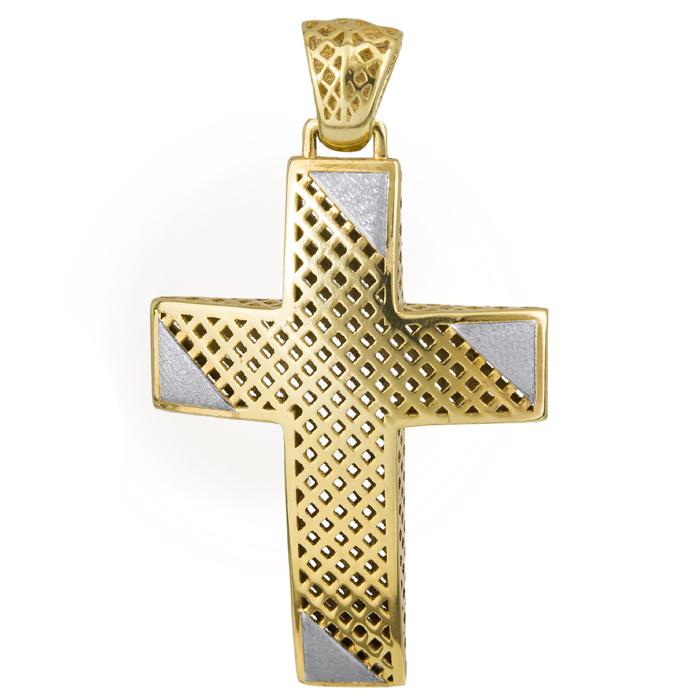 Σταυροί Βάπτισης - Αρραβώνα Χρυσός Σταυρός 14Κ με λευκές ματ λεπτομέρειες 014721 Ανδρικό Χρυσός 14 Καράτια