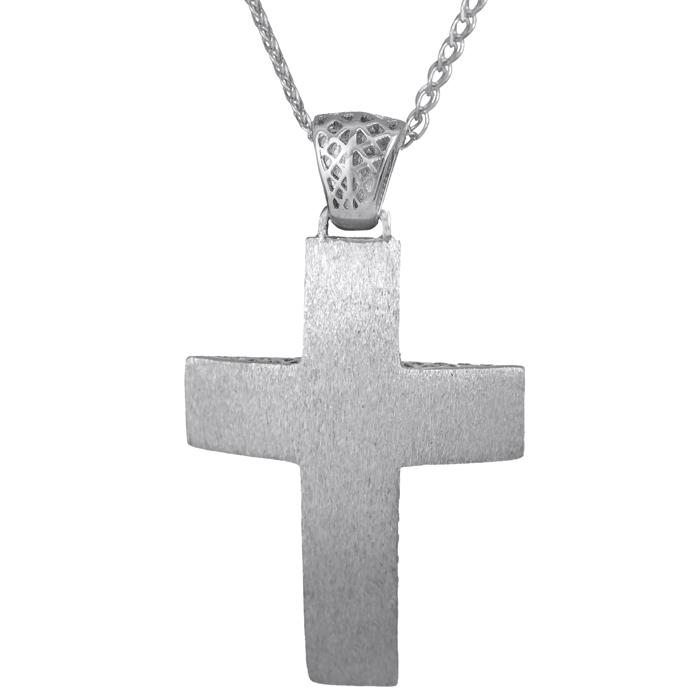 Βαπτιστικοί Σταυροί με Αλυσίδα Λευκόχρυσος Βαπτιστικός Σταυρός 14K με αλυσίδα 014726C Ανδρικό Χρυσός 14 Καράτια