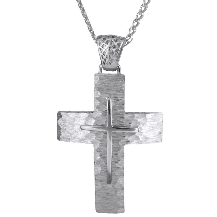 Βαπτιστικοί Σταυροί με Αλυσίδα ΛΕΥΚΟΧΡΥΣΟΣ ΣΤΑΥΡΟΣ Κ14 ΜΕ ΑΛΥΣΙΔΑ 014732C Ανδρικό Χρυσός 14 Καράτια