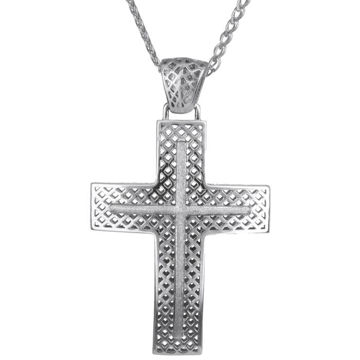 Βαπτιστικοί Σταυροί με Αλυσίδα Λευκόχρυσος Σταυρός 14K με Αλυσίδα 014736C Ανδρικό Χρυσός 14 Καράτια
