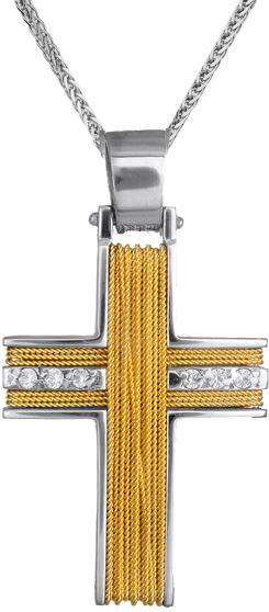 Βαπτιστικοί Σταυροί με Αλυσίδα Γυναικείος συρματερός σταυρός C001474 001474C Γυναικείο Χρυσός 14 Καράτια