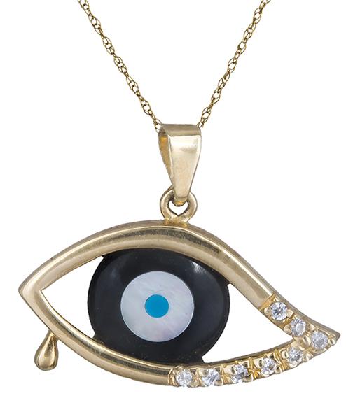 Κολιέ με πετράτο μάτι 001511 001511 Χρυσός 14 Καράτια