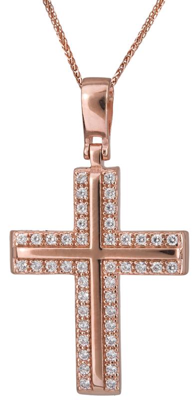 Βαπτιστικοί Σταυροί με Αλυσίδα ΡΟΖ ΣΤΑΥΡΟΙ 015474C Γυναικείο Χρυσός 14 Καράτια
