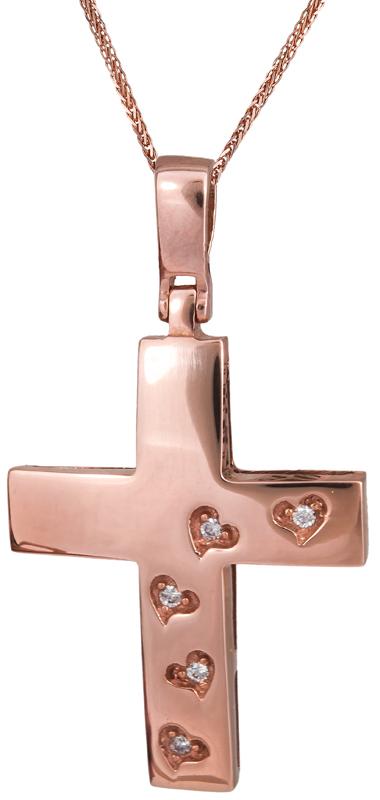 Βαπτιστικοί Σταυροί με Αλυσίδα ΚΟΣΜΗΜΑΤΑ ΣΤΑΥΡΟΙ 015476C Γυναικείο Χρυσός 14 Καρ σταυροί βάπτισης   γάμου βαπτιστικοί σταυροί με αλυσίδα