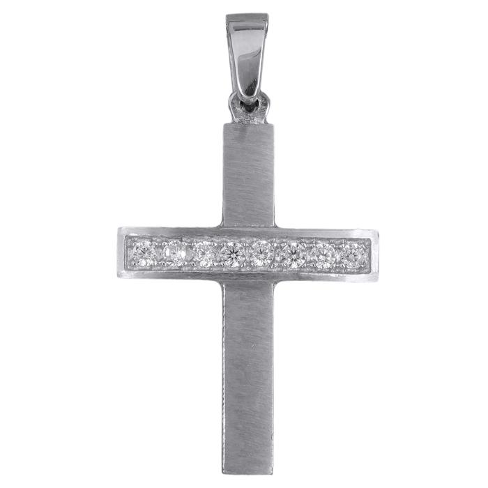 Λευκόχρυσος γυναικείος σταυρός K14 016167 016167 Χρυσός 14 Καράτια