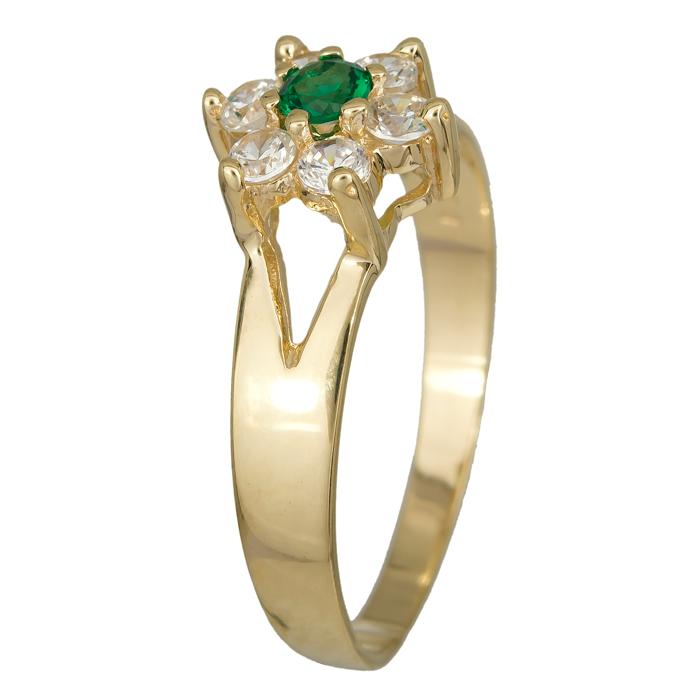 Χρυσή ροζέτα με πράσινη πέτρα Κ14 016259 016259 Χρυσός 14 Καράτια