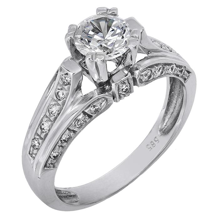 Λευκόχρυσο μονόπετρο δαχτυλίδι K14 001901 001901 Χρυσός 14 Καράτια