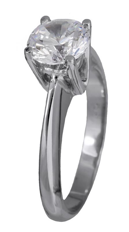 Μονόπετρο δαχτυλίδι λευκόχρυσο 14K 001902 001902 Χρυσός 14 Καράτια