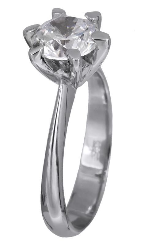 Λευκόχρυσο μονόπετρο δαχτυλίδι 14K 001906 001906 Χρυσός 14 Καράτια