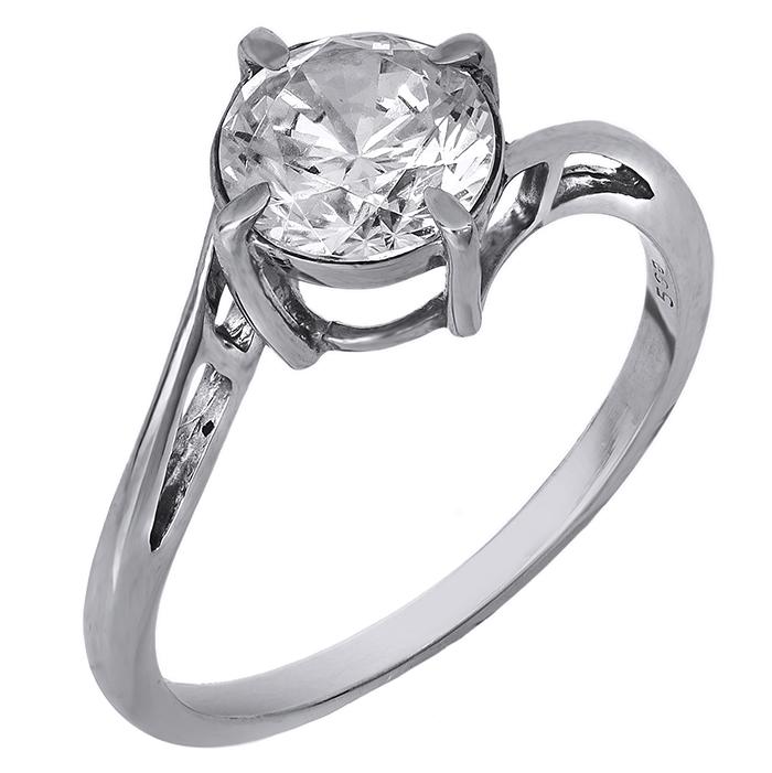 Λευκόχρυσο μονόπετρο δαχτυλίδι 14 Κ 001907 001907 Χρυσός 14 Καράτια