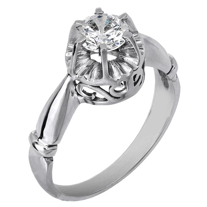 Λευκόχρυσο μονόπετρο δαχτυλίδι 14 καράτια 001909 001909 Χρυσός 14 Καράτια