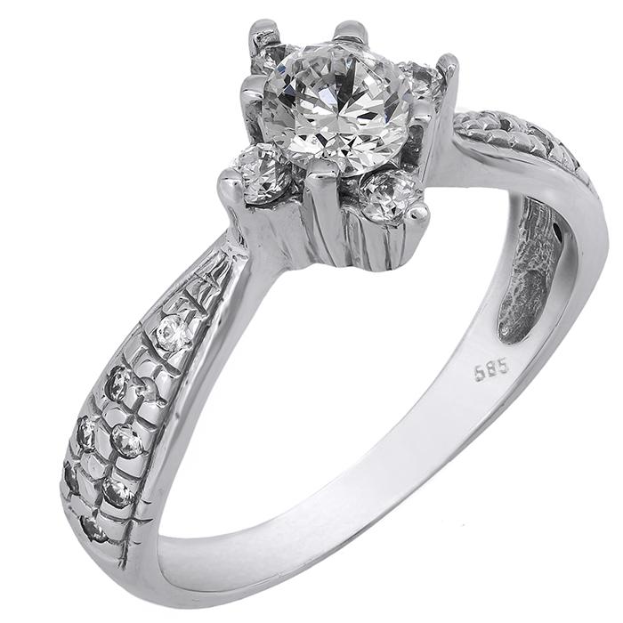 Λευκόχρυσο μονόπετρο δαχτυλίδι K14 001911 001911 Χρυσός 14 Καράτια