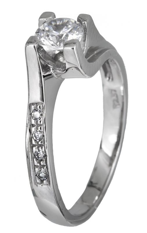 Μονόπετρο λευκόχρυσο δαχτυλίδι Κ 14 001913 001913 Χρυσός 14 Καράτια