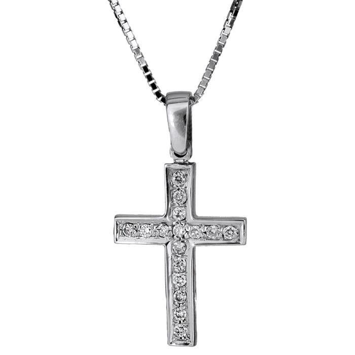 Βαπτιστικοί Σταυροί με Αλυσίδα Λευκόχρυσος γυναικείος σταυρός K18 C019152 019152C Γυναικείο Χρυσός 18 Καράτια