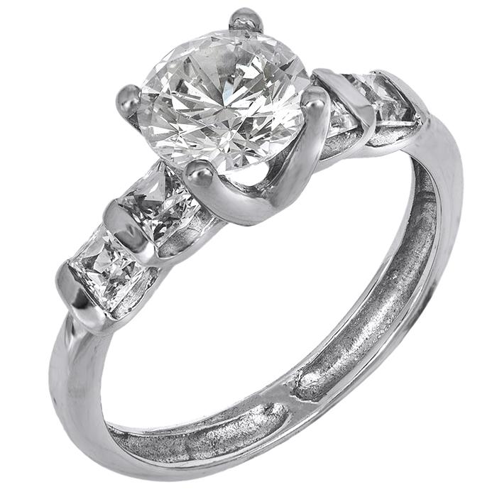 Μονόπετρο λευκόχρυσο δαχτυλίδι Κ14 001918 001918 Χρυσός 14 Καράτια