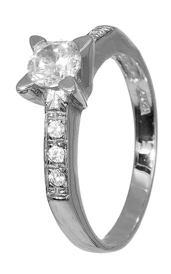 Λευκόχρυσο μονόπετρο δαχτυλίδι K14 001923 001923 Χρυσός 14 Καράτια