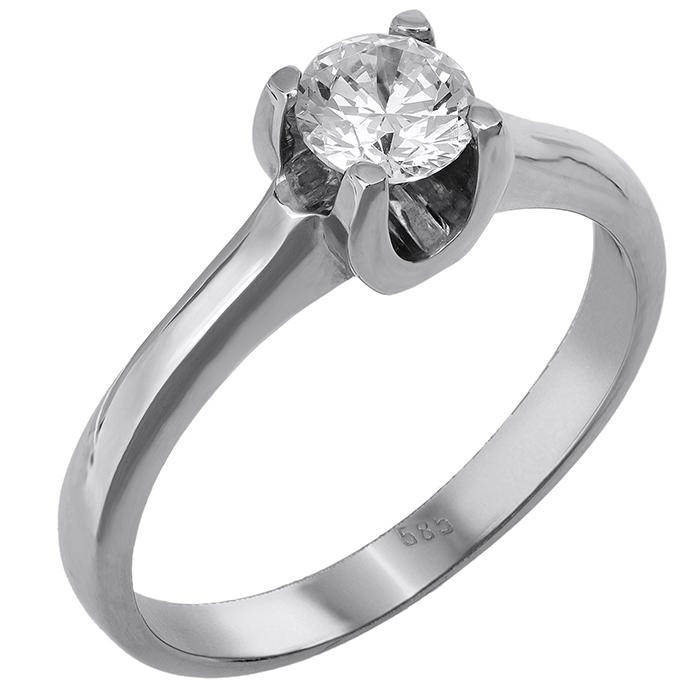 Λευκόχρυσο μονόπετρο δαχτυλιδι 14 καράτια 001926 001926 Χρυσός 14 Καράτια