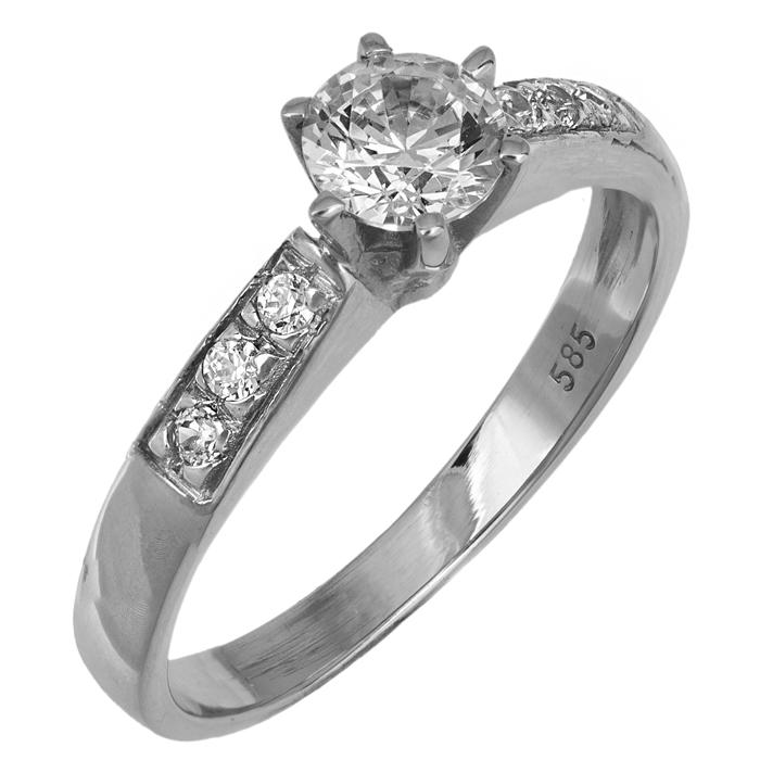 Λευκόχρυσο μονόπετρο δαχτυλίδι Κ14 001930 001930 Χρυσός 14 Καράτια