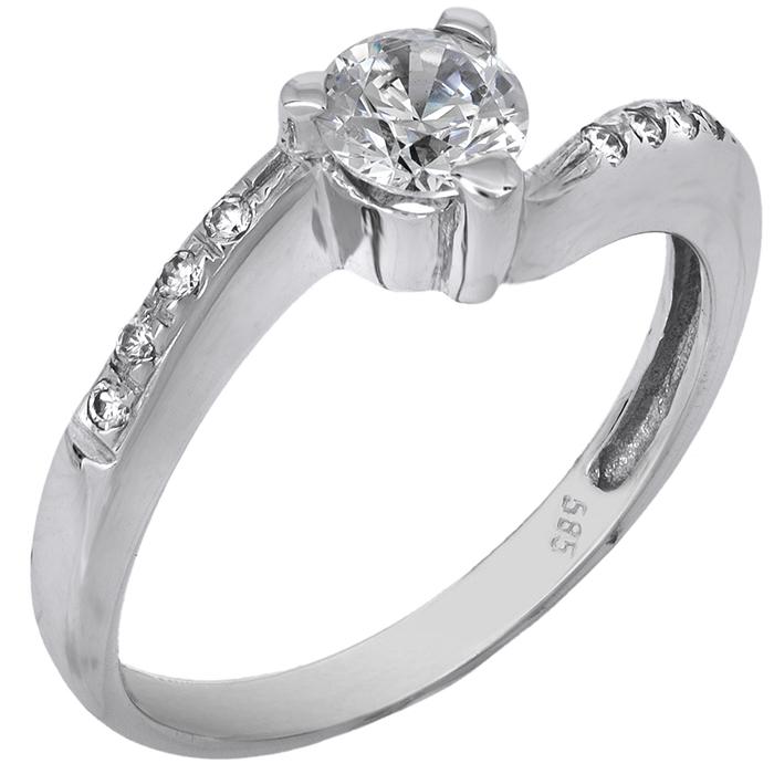 Λευκόχρυσο δαχτυλίδι 14Κ με ζιργκόν 001933 001933 Χρυσός 14 Καράτια χρυσά κοσμήματα δαχτυλίδια μονόπετρα