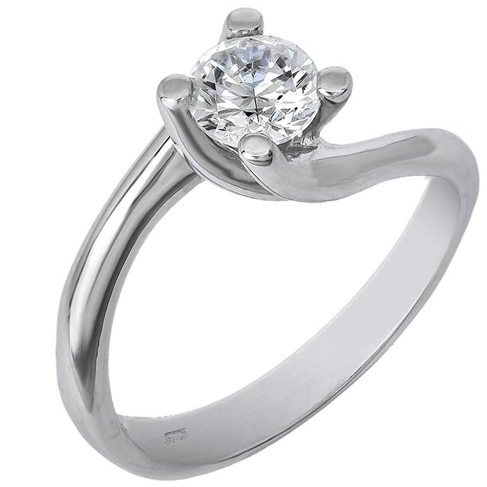 Λευκόχρυσο μονόπετρο δαχτυλίδι 14 K 001937 001937 Χρυσός 14 Καράτια