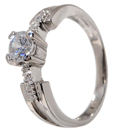 Λευκόχρυσο μονόπετρο δαχτυλίδι K14 001939 001939 Χρυσός 14 Καράτια