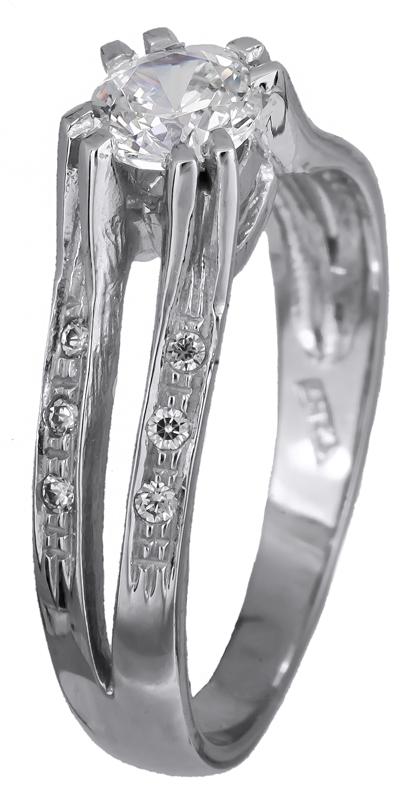 Μονόπετρο λευκόχρυσο δαχτυλίδι 14 καράτια 001941 001941 Χρυσός 14 Καράτια