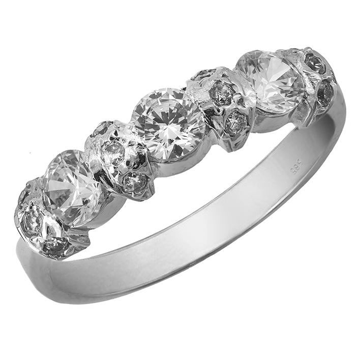 Λευκόχρυσο δαχτυλίδι Κ14 με πέτρες ζιργκόν 001959 001959 Χρυσός 14 Καράτια χρυσά κοσμήματα δαχτυλίδια σειρέ ολόβερα