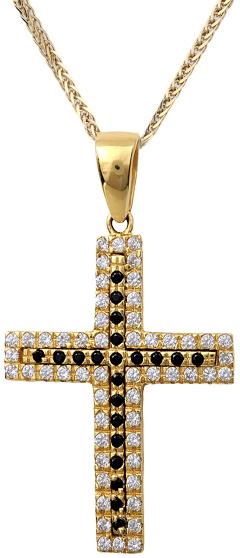 Βαπτιστικοί Σταυροί με Αλυσίδα Βαπτιστικός σταυρός για κορίτσι με πέτρες ζιργκόν C001963 001963C Γυναικείο Χρυσός 14 Καράτια