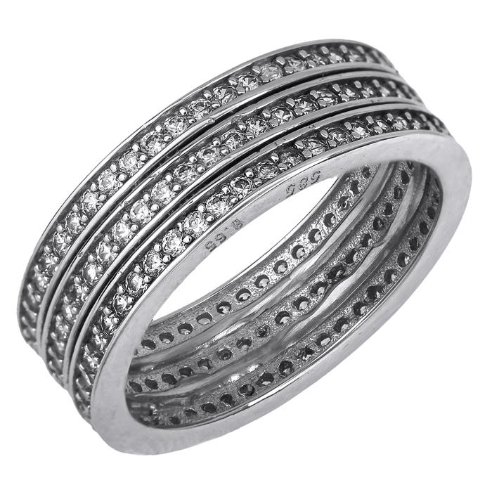 Λευκόχρυσο σειρέ δαχτυλίδι Κ14 019648 019648 Χρυσός 14 Καράτια
